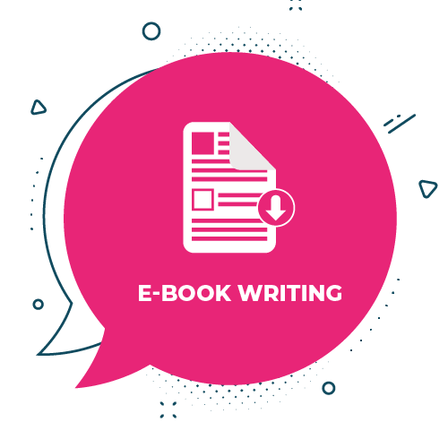 eBook writing icon on pink background