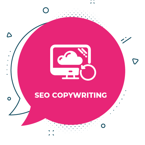 SEO copywriting icon on pick background