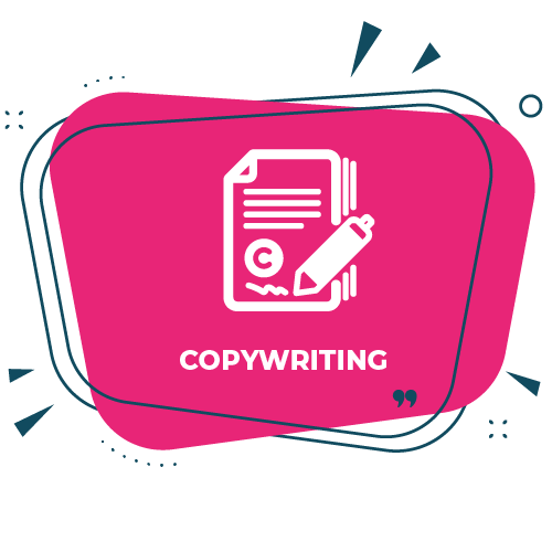 Copywriting graphic with icon on pick background