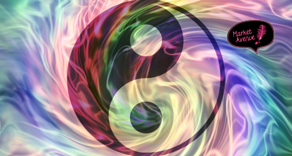 yin yang against a funky background